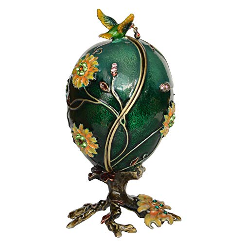 Jiaheyou Enameled Hummingbird on Faberge Egg Trinket Jewelry Box Easter Gifts Collectible Figurines Creative Gifts