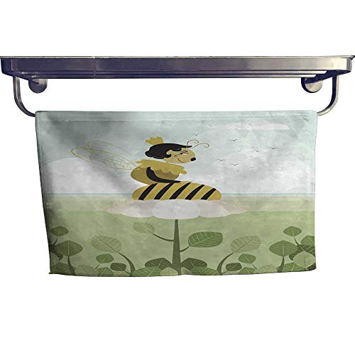 (homecoco Sports Ttowel Queen bee Resting on a Flower Towel W 14