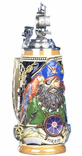 German Beer Stein Pirate Blackbeard Relief Stein, sailing ship lid, canon thumbrest 0.5 liter tankard, beer mug by ISDD Cuckoo Clocks