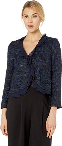 Trim Coat Ruffle - Vince Camuto Womens Long Sleeve Indigo Tweed Ruffle Trim Blazer Classic Navy 10