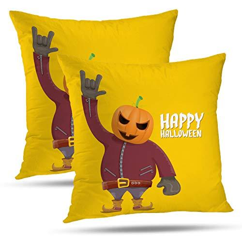 Batmerry Halloween Thanksgiving Decorative Pillow Covers 18x18 inch Set of 2,Happy Halloween Creative Man Pumpkin Head Rock Roll Greeting Backdrop Throw Pillows Covers Sofa Cushion Cover -