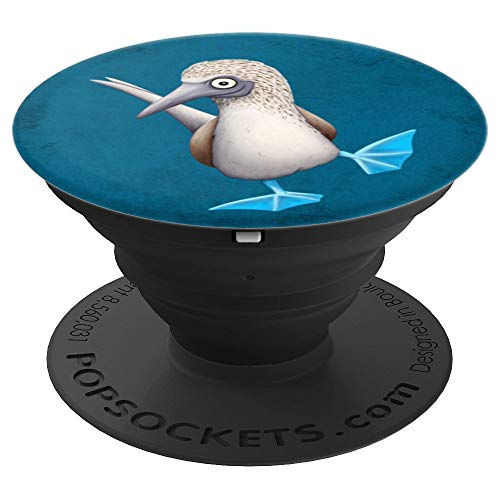 Blue-Footed Booby Art | Funny Fancy Dancing Tropical Bird - PopSockets Grip and Stand for Phones and Tablets