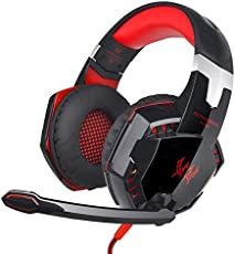 Aoile 3.5mm Gaming Headset Mic LED Headphones Stereo Surround for PS3 PS4 Xbox One 360(Black Red)