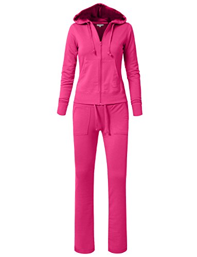 - NE PEOPLE Womens Casual Basic French Terry Drawstring Zip Up Hoodie Sweatsuit Set S-3XL