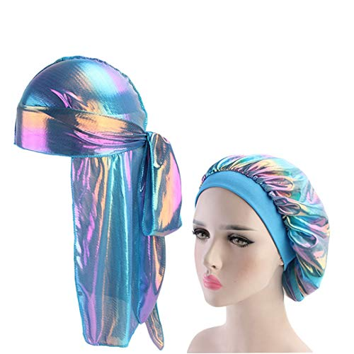 Men Sparkly Silk Durag Bandana Headwear Colorful Wide Du-Rag Bonnet Polyester Cap Sleeping Hat 3 Size fits all