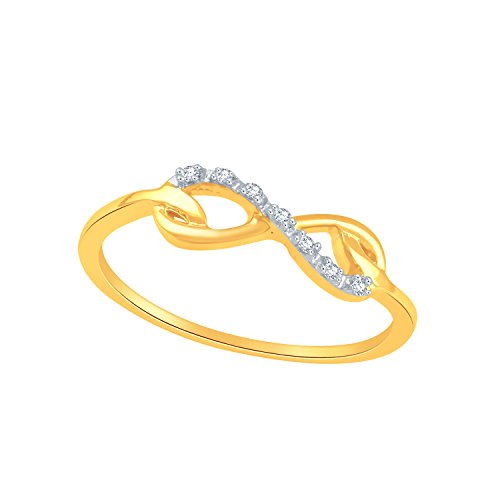 Smjewels 0.04 Carat T. W. Diamond Fashion Infinity Ring 14k Yellow Gold Fn .925 Sterling (Ct Fashion Diamond 0.04)