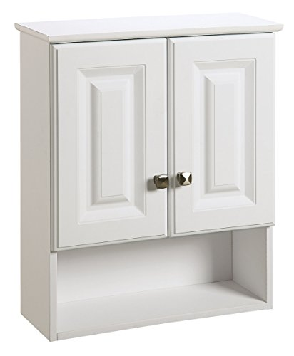 Design House 531715 Wyndham White Semi-Gloss Bathroom Wall Cabinet with 2-Doors and 1-Shelf, 22-Inches Wide by 26-Inches Tall by 8-Inches -