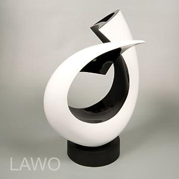LAWO 109373 Laque Design Sculpture LINUS noir-blanc Moderne Deco ...