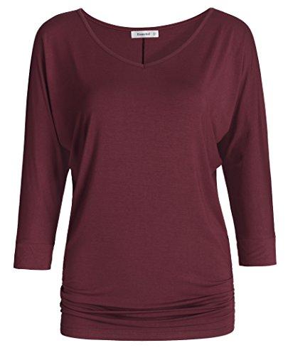 eck Dolman Top 3/4 Sleeve Drape Shirt XL Wine Red ()