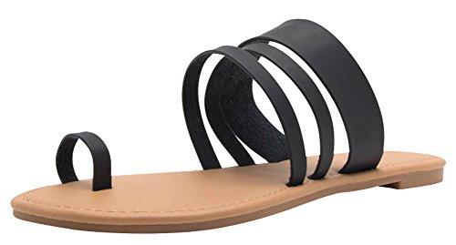 Cambridge Select Femmes Slip-on Triple Bande Strappy Toe Anneau Flat Slide Sandale Noir