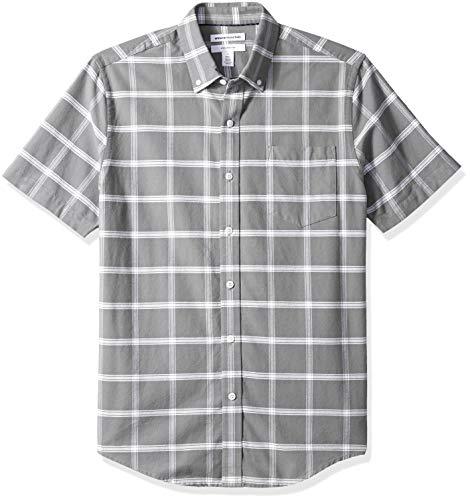 Amazon Essentials Men's Slim-Fit Short-Sleeve Pocket Oxford Shirt, Grey Windowpane, X-Large