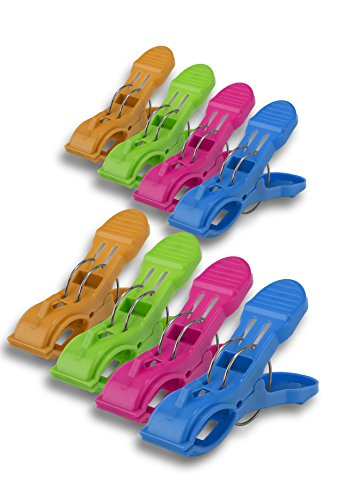 Plastic Beach Towel Clips 8 Pack - Strong Robust Clips Keep Your Towel in Place on Your Sun Lounger on Your Cruise or on the Beach Comes With 1 Pack of 6 Long Lasting Mosquito Repellent Patches