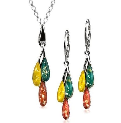 Sterling Silver Multicolor Amber Dreams Pendant Necklace Earrings Set Chain 18 Inches