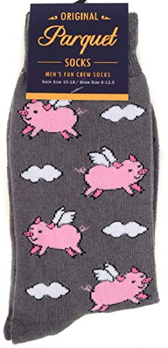 Men's Fun Crew Socks, When Pigs Fly, Sock Size 10-13 / Shoe Size 6-12.5, Great Holiday/Birthday Gift (When Pigs Fly Grey), - Funny Pigs Flying