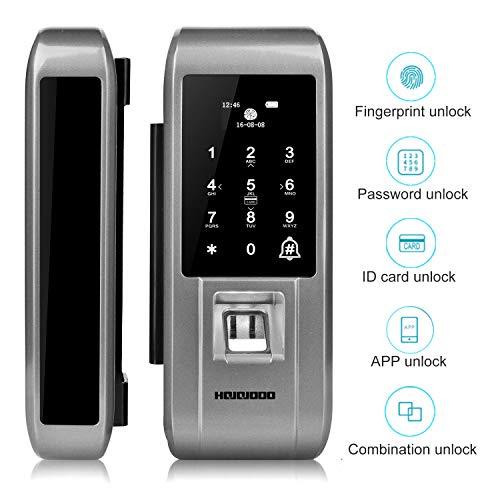 Olseti Smart Glass Door Lock,Security Biometric Fingerprint and Touchscreen Keyless Smart Door Lock,Digital Anti-peep Password Door Lock and IC Cards Entry,Support Remote APP