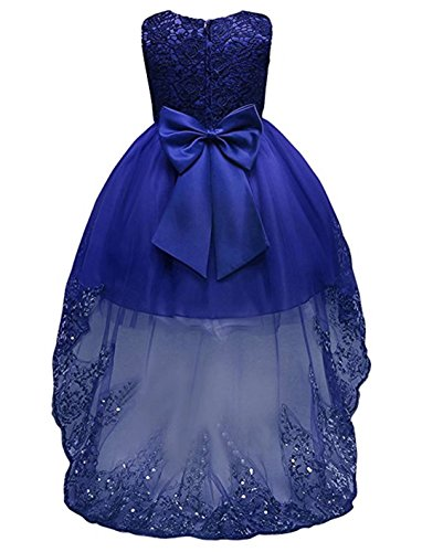 ZAHB Sequin Mesh Flower Party Wedding Gown Bridesmaid Tulle Dress Little Baby Girl(B/Red,S/18-24M) (Flower Bridals Dress Girl Romantic)