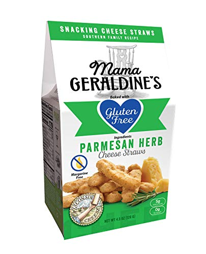 Parmesan Cheese Straws - Mama Geraldine's Gluten Free Parmesan Herb Cheese Straws - Crunchy Baked Savory Snack Food - 4.5 ounce (4 Pack)