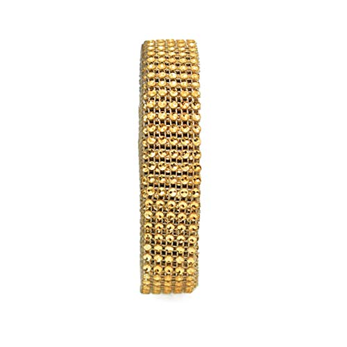 Rhinestones Ribbon Trim Laces for Embroidery, Decoration and Craft Making (Gold Color, 9 Meter)