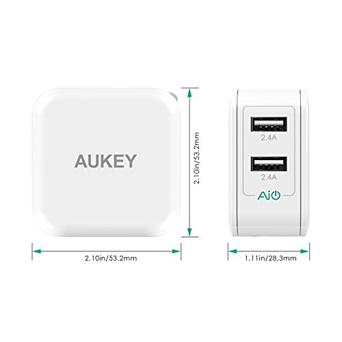 Large Product Image of AUKEY USB Wall Charger with Dual-Port 24W/4.8A Output and Foldable Plug - White