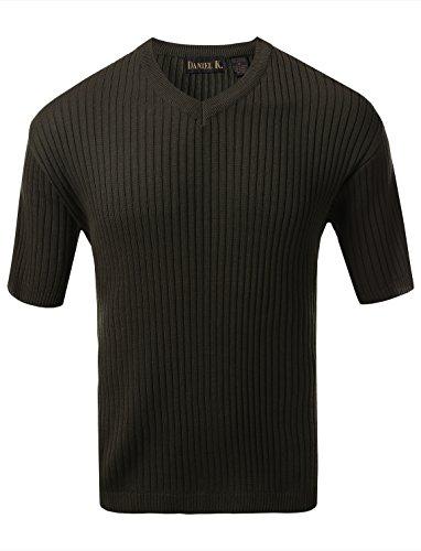 7 Encounter Men's V Neck Short Sleeve Large Ribbed Sweater Olive L
