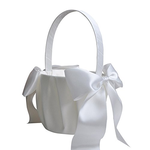 Lothver Satin Wedding Flower Girl Basket Romantic Cute Double Bow Decor Ivory by Lothver