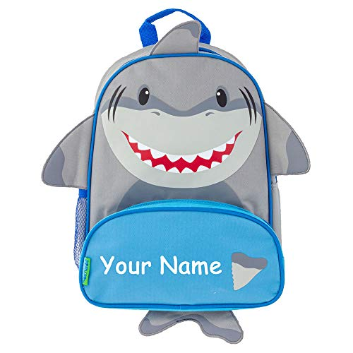 Stephen Joseph Personalized Shark Face Print Sidekick Back to School Backpack Book Bag with Custom Name