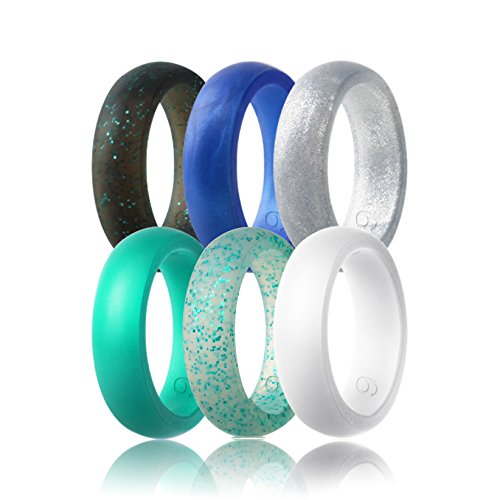 beilove Silicone Wedding Ring for Women,Singles & 6 Pack(Sliver,White,Turquoise,Grey black with Turquoise Glitters,Turquoise Glitter,Sapphire Blue,size 5)