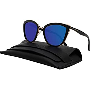 VIVIENFANG My Girl Women's Blue Mirror Lens Oversized Shades Polarized Cat eye Sunglasses P1891a