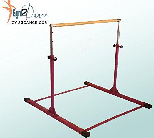 Gymnastics Bar Adjustable 3′ to 5′ Model DX Barney Purple, 1.5″ Dia. Solid Hardwood, Very Sturdy From Gym2dance
