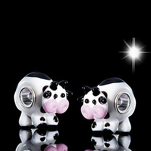 Materia #1439D Perle vache 3D en verre de Murano avec monture en argent 925Noir/blanc