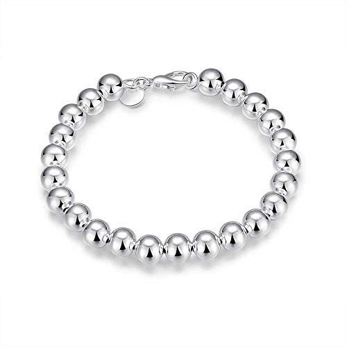 PMANY 925 Sterling Silver Plated Round Beads Bracelet, 8mm