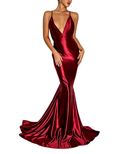 Ohvera Women's Satin Spaghetti Strap Backless V Neck Cocktail Evening Prom Gown Maxi Long Dress WineRed Large