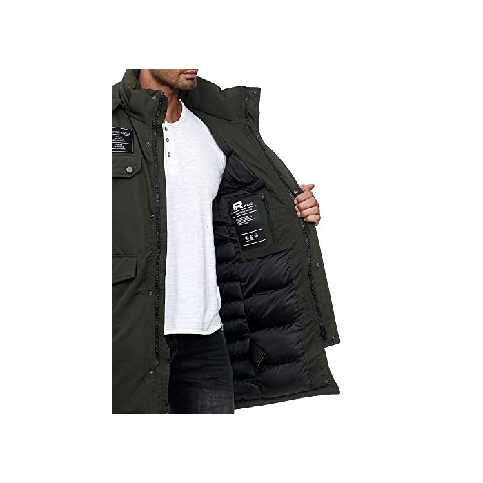 41%2B5jDcYhXL Abrigo   Parka de invierno para hombres de la marca Redbridge Chaqueta de invierno cálida y moderna con capucha extraíble y muchos bolsillos prácticos 100% Poliéster
