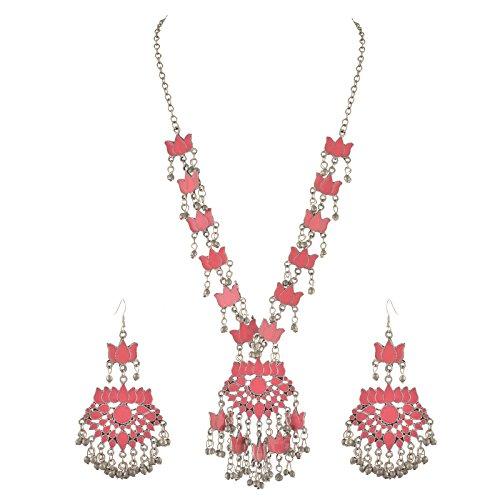 Zephyrr Fashion German Silver Lotus Pendant Necklace Hook Earrings Set for Women