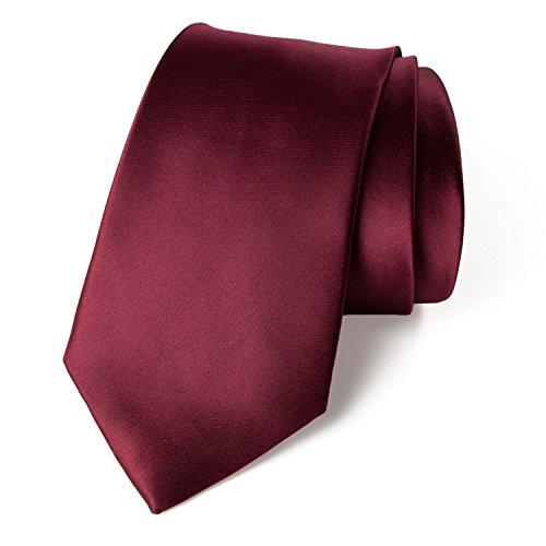 Spring Notion Men's Solid Color Satin Microfiber Tie, Regular Burgundy