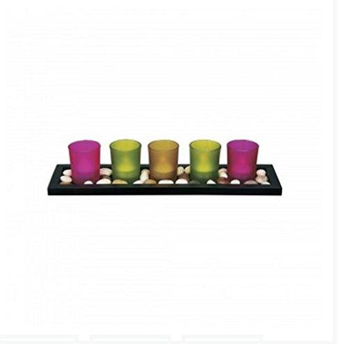 Kole Decorative Candle Holder & Stones Set
