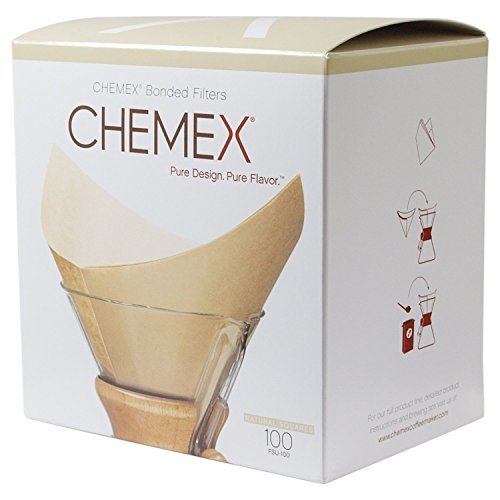Chemex FSU-100 Natural Bonded Pre-folded Squares Coffee Filters (100 Filters) with Free FOXGALLERY Coffee Guide (Filter King Coffee Filter compare prices)