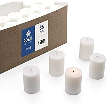 Hosley Set of 24 Unscented Clear Glass Wax Filled Votive Candles, Up to 12 Hour Burn Time. Glass Votive & Hand Poured Candle Included, Ideal for Aromatherapy, Weddings, Party Favors O1 HG Global FBA-H20603ON-2-EA