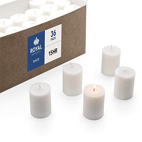 Royal Imports Votive Candle, Unscented White Wax, Box of 36, for Wedding, Birthday, Holiday & Home Decoration (15 ()
