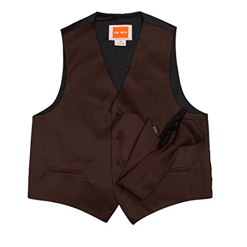 Dan Smith DGDE0017-8 Dark Brown children Solid Waistcoat Kids Microfiber possibly Boys Vest With Matching Neck Tie For Age 8 by -