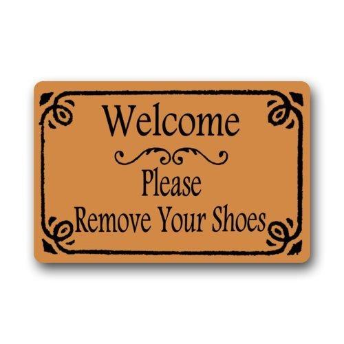 Rectangle Door (Non-Slip Rectangle Funny Quotes Welcome Door Mat, Welcome Please Remove Your Shoes Design Indoor and Outdoor Entrance Floor Mat Doormat - 23.6