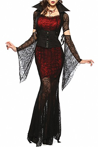 Women Vixen Vampire Theme Party Fancy Halloween Costume Corset Black Skeleton Dress With Trimmed in Black Tulle