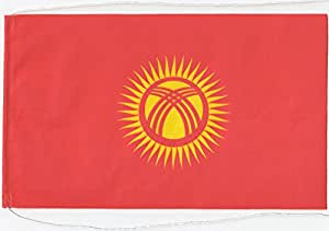 Flaggenfritze–Bandera de mesa (Kirguistán, ca. 10 cm x 16 cm