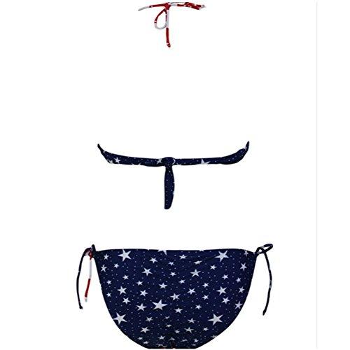 Aidonger - Bikini-set para mujer con franjas y bandera nacional de ee.uu. Azul y Rojo