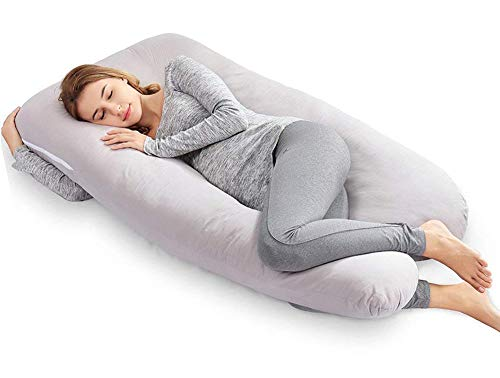 AngQi 55-inch extensive Pregnancy Pillow, U Shaped Body Pillow, Maternity Pillow for Pregnant Women and Baby, by using Washable Cotton Cover, Grey