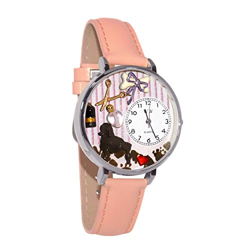 Whimsical Watches Unisex U0630007 Dog Groomer Pink Leather Watch (Charm Dog Puppy Watch)