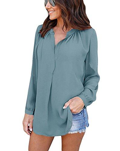 Manches Pour V B clair Office Chemisier Chemise Mode Lady Vert Tunique Col  Mousseline Longues Blouse Femme Bureau Chic Top atBB0f 42404f7cfd0d