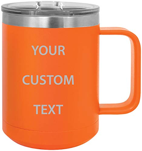 (Personalized Add Your Custom Text Insulated 15 Oz Coffee Mug Customizable (Orange))