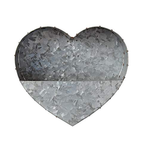 Creative Co-Op Metal Heart Wall Planter, Grey -