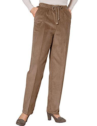 Mesdames Cravate Taille Pantalon Velours Côtelé Marron 41cm x 79cm